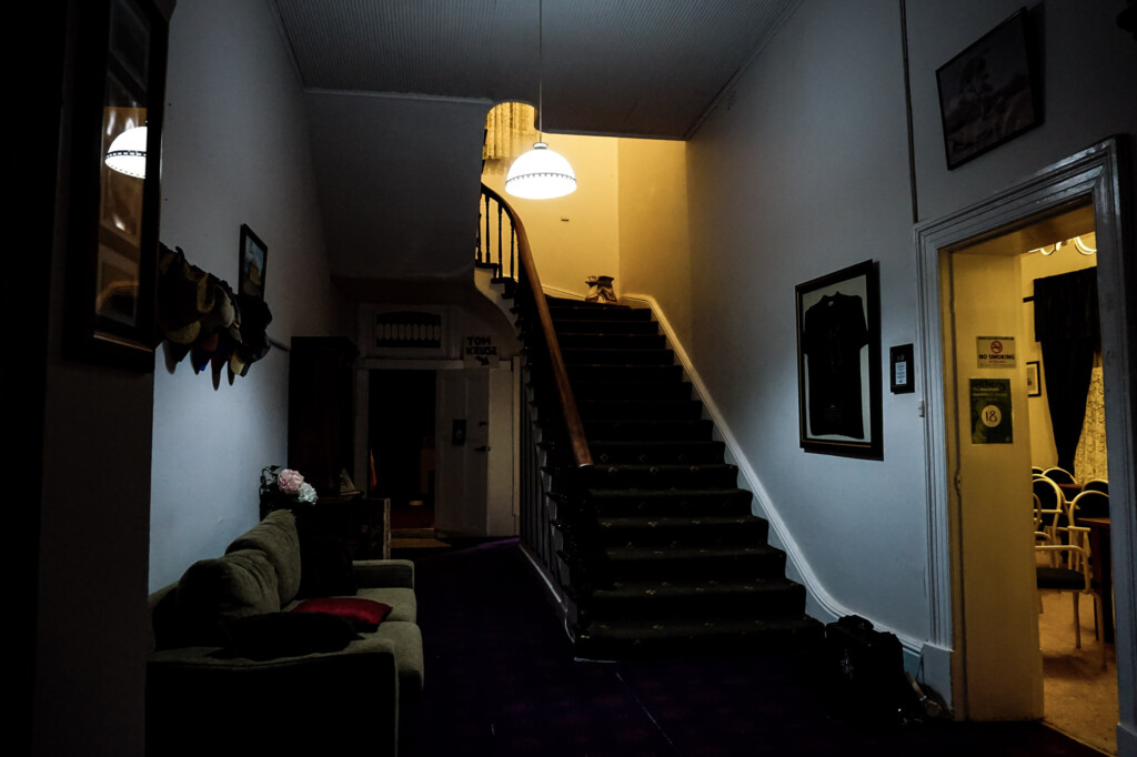 Haunted hotel front stairs.