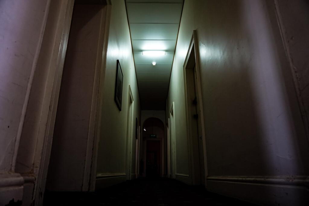 Hallway in the haunted Marree Hotel.