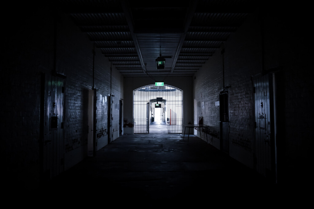 Haunted Gladstone Gaol cellblock.
